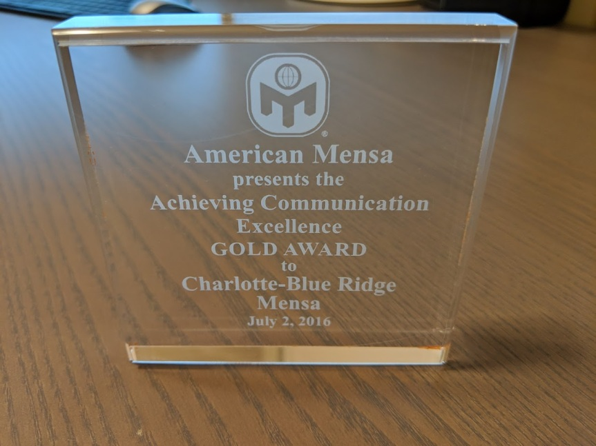 CBR Mensa Receives 2016 Gold Award for Communication Excellence!